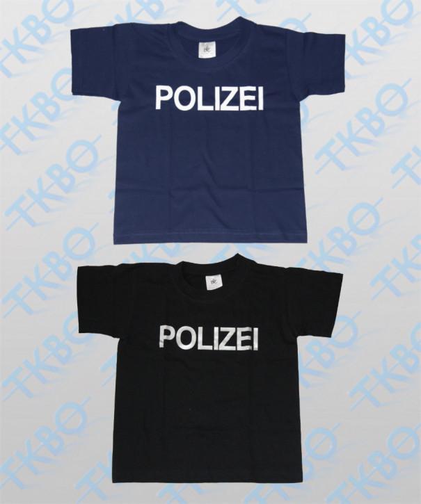 """Kinder T-Shirt mit Aufdruck """"POLIZEI"""" Schwarz / 122-128 / silber"""