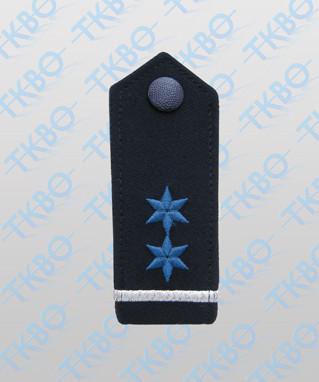 Schulterklappen blau + Silberbalken + 2 Sterne blau