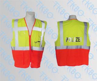 Warnweste - gelb/orange - mit Reißverschluss und Taschen S
