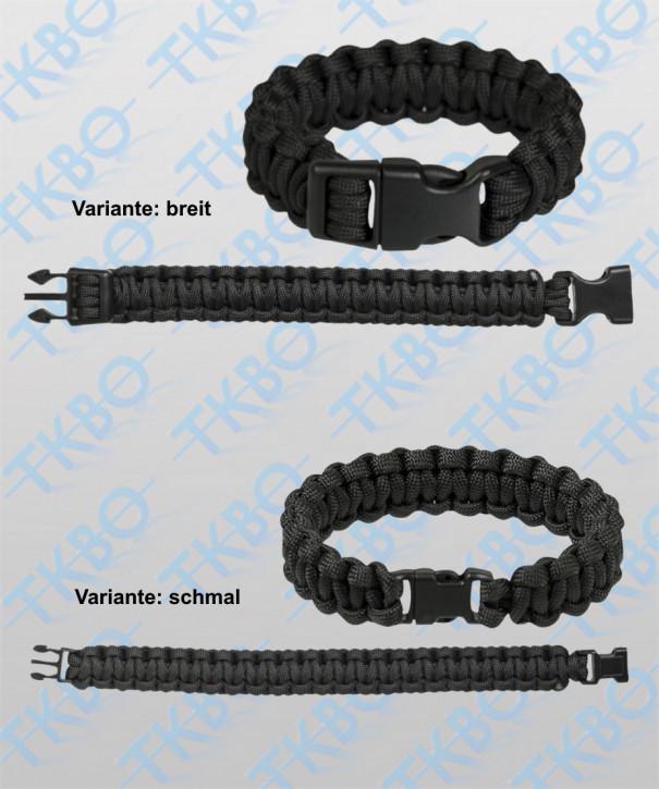 "Armband ""Paracord"", schwarz S / schmal"