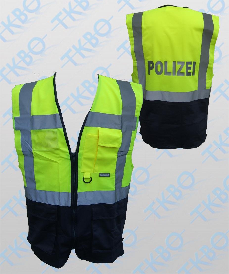 warnweste mit aufdruck polizei gelb blau mit rei verschluss und taschen 110996. Black Bedroom Furniture Sets. Home Design Ideas