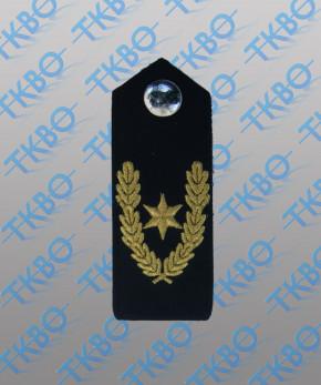 Schulterklappen blau mit 1 Stern gold + Eichenlaub + Metallknopf
