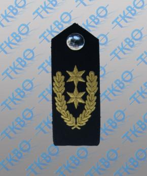 Schulterklappen blau mit 2 Sternen gold + Eichenlaub + Metallknopf