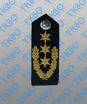 Schulterklappen blau mit 3 Sternen gold + Eichenlaub + Metallknopf