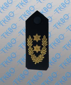 Schulterklappen mit 2 Sternen gold + Eichenlaub -Handgestickt-