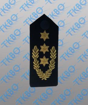 Schulterklappen mit 3 Sternen gold + Eichenlaub -Handgestickt-