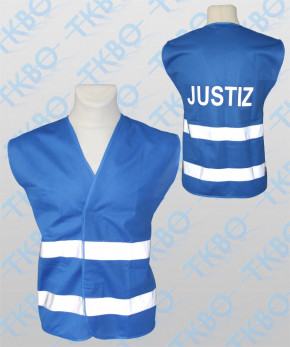 """Warnweste blau mit Druck """"JUSTIZ"""""""
