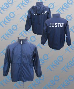 """Windbreaker blau mit Rückendruck """"Justiz"""""""