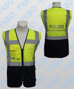 """Warnweste mit Aufdruck """"POLIZEI PRESSESPRECHER"""" - gelb/blau - mit Reißverschluss und Taschen"""