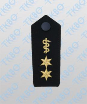 Schulterklappen mit Äskulapschlange + 2 Sterne gold