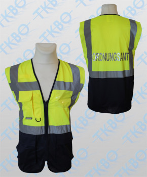 """Warnweste mit Aufdruck """"ORDNUNGSAMT"""" - gelb/blau - mit Reißverschluss und Taschen"""