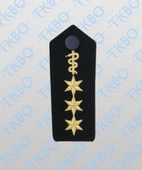 Schulterklappen mit Äskulapschlange + 3 Sterne gold