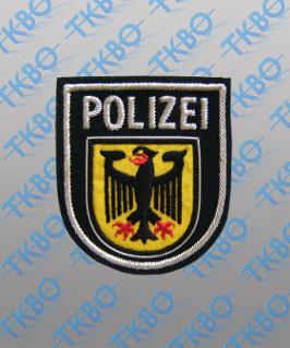 Abzeichen Bundespolizei handgestickt - silber