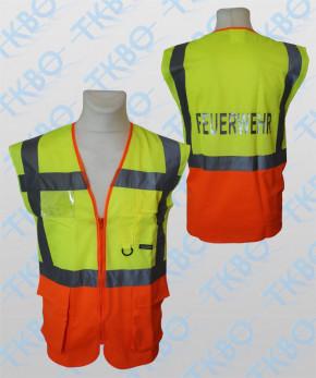 """Warnweste mit Aufdruck """"FEUERWEHR"""" - gelb/orange - mit Reißverschluss und Taschen"""